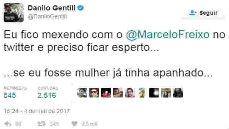 Danilo Gentili em uma das mensagens publicadas para Marcelo Freixo no Twitter; deputado entrou com processo por danos morais - Reprodução/Twitter - Reprodução/Twitter