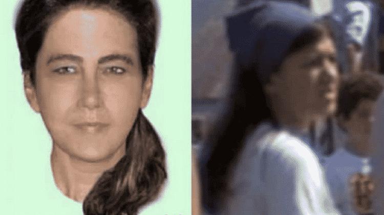 """A concepção artística do rosto da vítima e a imagem da jovem que aparece em """"Tubarão"""" - Reprodução/Telegraph - Reprodução/Telegraph"""