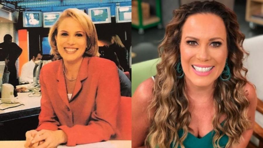 Regina Volpato na época em que apresentava jornal na BandNews e agora, no Mulheres, da Gazeta - Reprodução/Instagram