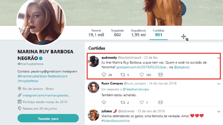 "Marina Ruy Barbosa curte no Twitter post de seguidor que fez teste sobre ""Surubão de Noronha"" - Reprodução/Twitter/@mariruybarbosa - Reprodução/Twitter/@mariruybarbosa"
