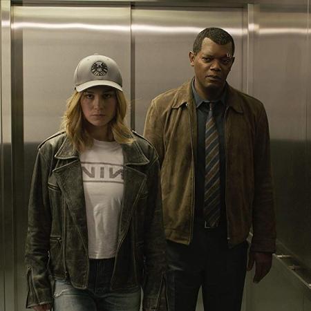 """Brie Larson e Samuel L. Jackson em cena de """"Capitã Marvel"""" - Divulgação"""