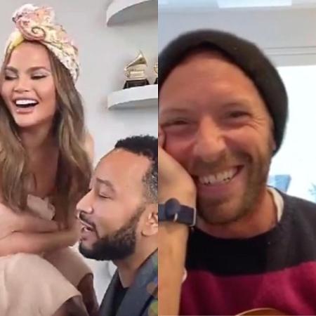John Legend, Chrissy Teigen e Chris Martin - Reprodução / Instagram