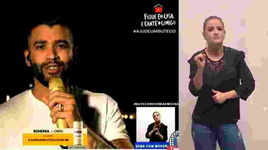 Ana Victória foi uma das intérpretes de libras da live do cantor Gusttavo Lima - Reprodução Youtube e Arquivo pessoal