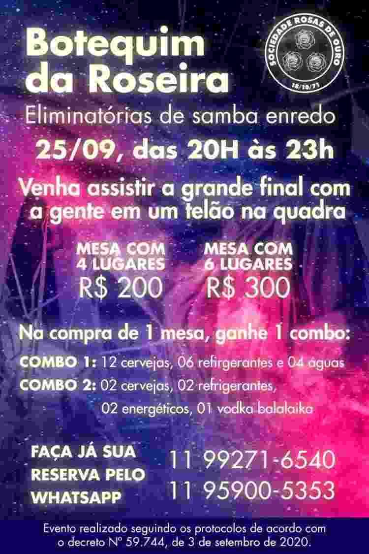 Rosas de Ouro está vendendo mesas para quem quiser assistir final de samba na quadra - Divulgação - Divulgação