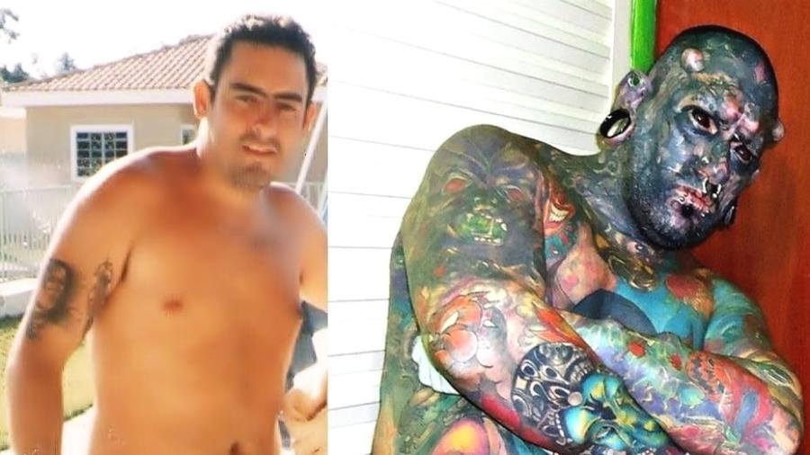Fernando antes e depois da maior parte de suas transformações - Arquivo Pessoal/Fernando Oliveira