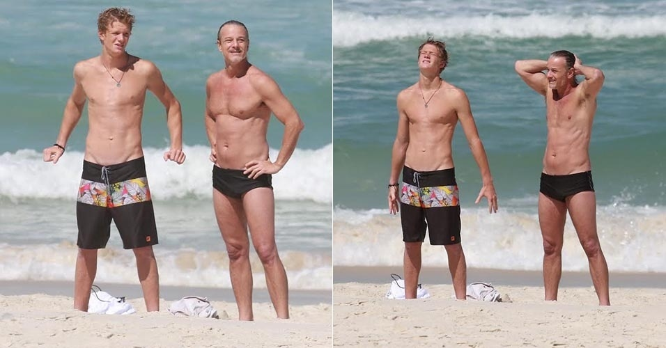 13.ago.2015 - Aos 53 anos, Marcello Novaes curte praia na Barra da Tijuca ao lado do filho Pedro, de 18 anos, fruto de seu relacionamento com Leticia Spiller