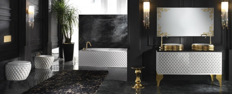 A AeT Itália (www.aetitalia.it) apresenta a linha Class com louças, móveis e acessórios luxuosos. Parte das peças tem acabamento