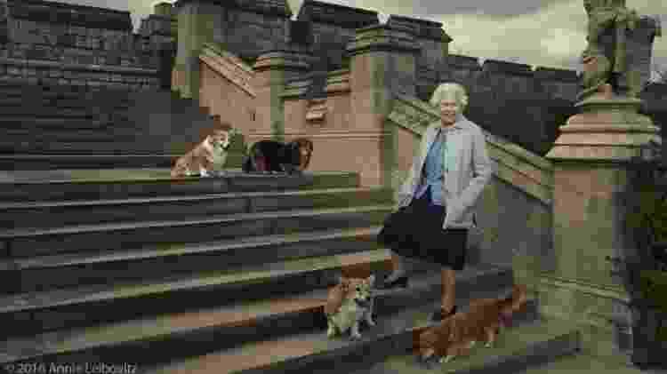 20.abr.2016 - A rainha Elizabeth, que completa 90 anos nesta quinta (21), posa para fotos ao lado de seus cachorros no Castelo de Windsor - Annie Leibovitz/Divulgação - Annie Leibovitz/Divulgação