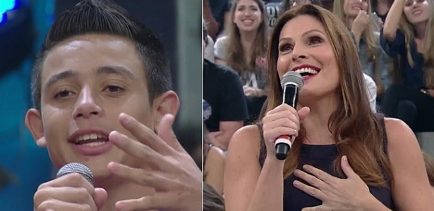 """30.abr.2016 - Garoto de 16 anos pede Laura Muller em namoro no """"Altas Horas"""" - Montagem/Reprodução/TV Globo"""