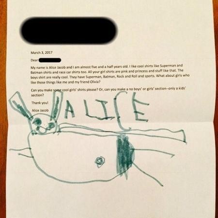 Alice Jacob, 5, viralizou nas redes sociais ao mandar uma carta para a marca de roupas GAP - Reprodução/Facebook