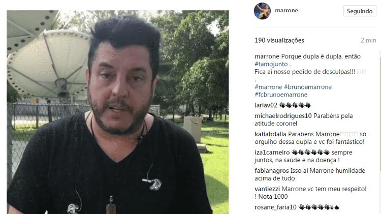Marrone, da dupla com Bruno, também se pronunciou sobre caso de bebedeira do parceiro - Reprodução/Instagram - Reprodução/Instagram