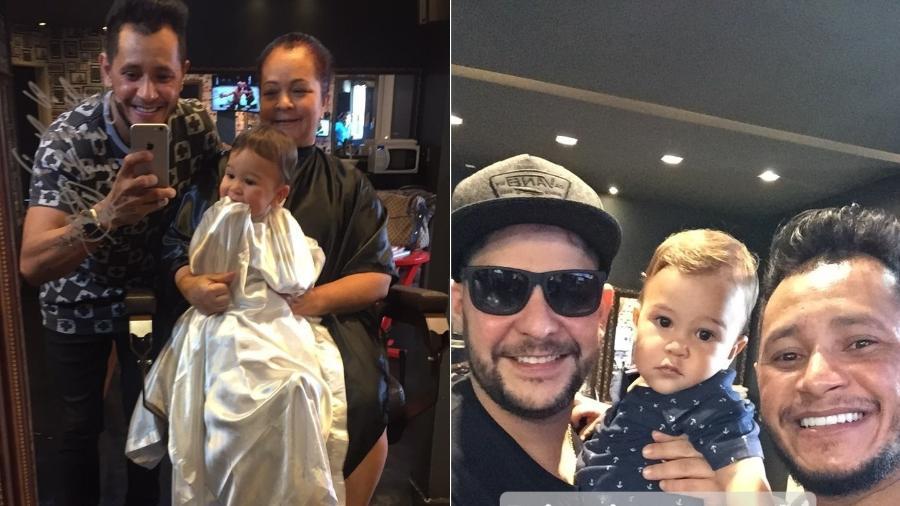 Jorge leva o filho, Davi, para cortar o cabelo pela primeira vez - Reprodução/Instagram/romilsonferreira