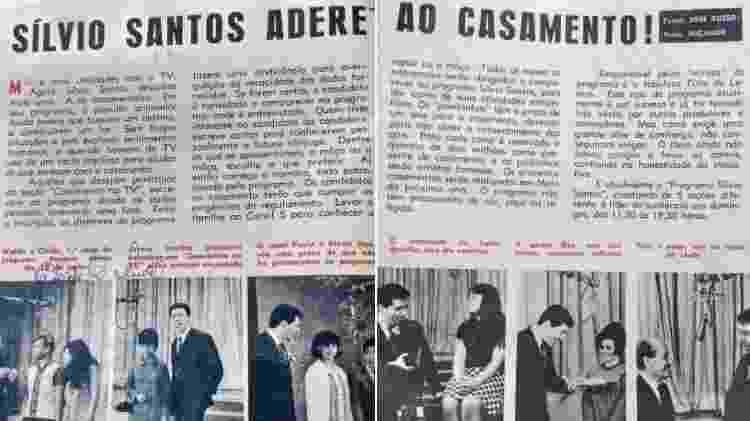 """Matéria da revista """"Melodias"""" sobre o programa """"Casamento na TV"""" com Silvio Santos - Arquivo pessoal - Arquivo pessoal"""