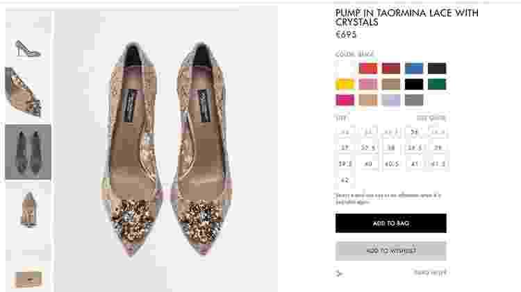 Sapato do casamento de Camila Queiroz - Reprodução/Site oficial Dolce & Gabbana - Reprodução/Site oficial Dolce & Gabbana