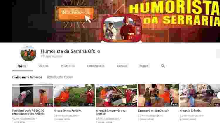 Página no YouTube do grupo Humorista da Serraria Ofc, com os envios de vídeo mais famosos do canal: 4,2 milhões de visualizações, 3,9 milhões, 3,8 milhões, 2,7 milhões e 2,5 milhões (números de julho de 2018) - Reprodução/YouTube/BBC - Reprodução/YouTube/BBC