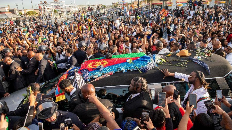 Cortejo fúnebre do rapper Nipsey Hussle em Los Angeles - Kyle Grillot/AFP