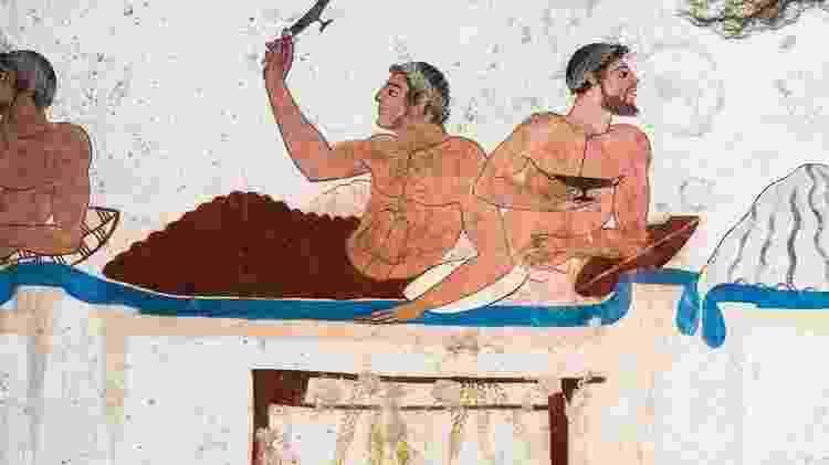 As camas gregas e romanas eram usadas com frequência para comer - Getty Images