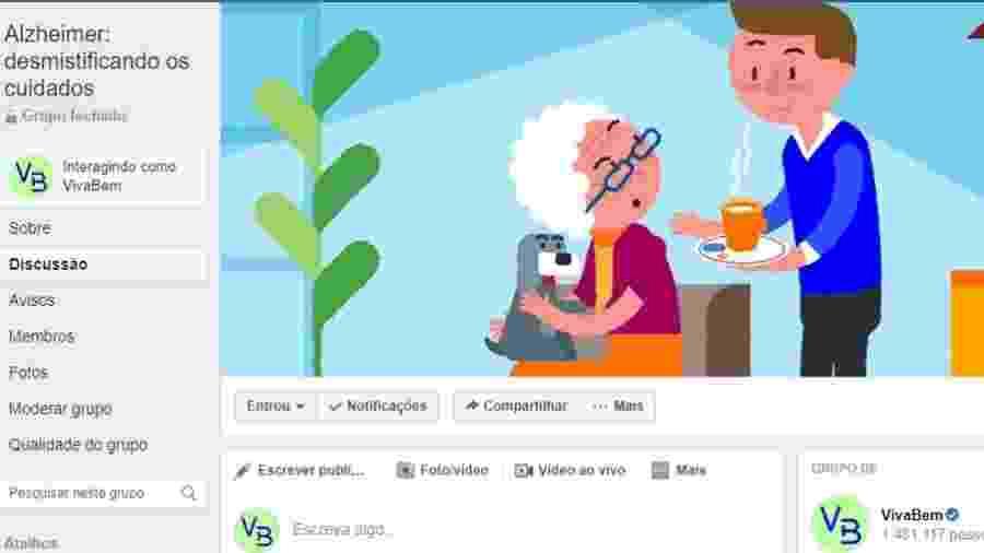 Imagem do grupo sobre Alzheimer do VivaBem - Reprodução