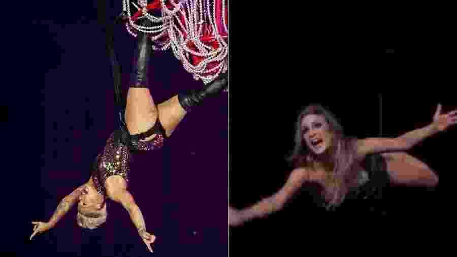 Mico de Claudia Leitte foi lembrado nas redes sociais durante show de Pink no Rock in Rio - Montagem/UOL