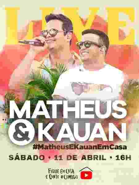 Matheus e Kauan anunciam show em live - divulgação/Facebook
