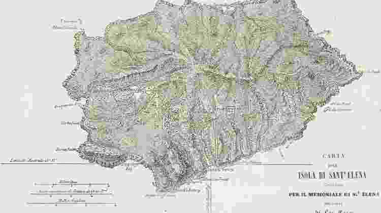 Mapa da ilha de Santa Helena de 1815, época em que Napolão Bonaparte estava por lá - De Agostini via Getty Images - De Agostini via Getty Images