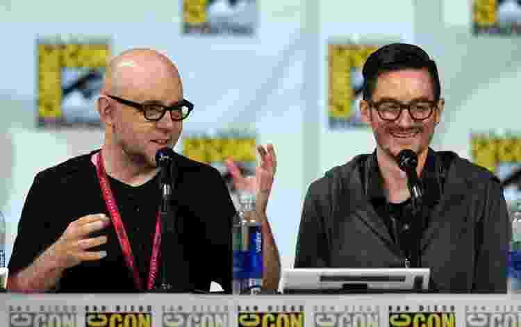 25.07.2014 - Michael Dante DiMartino (à esq.) e Bryan Konietzko (à dir.) durante painel de 'Avatar' na San Diego Comic-Con - Ethan Miller/Getty Images - Ethan Miller/Getty Images