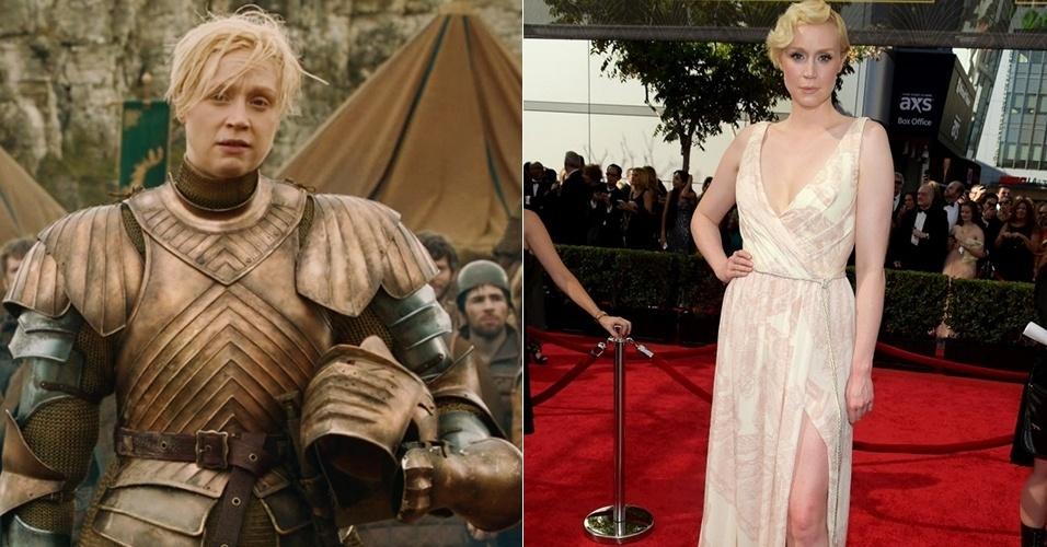 """Sem armaduras, a atriz Gwendoline Christie usou vestido com fenda no Emmy Awards e ficou muito diferente da Brienne de Tarth, de """"Game of Thrones"""""""