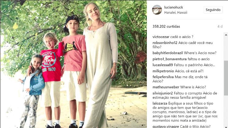 """Internautas 'invadiram' os comentários no Instagram de Luciano Huck para questionar: """"Cadê o Aécio?"""" 2 - Reprodução/Instagram - Reprodução/Instagram"""