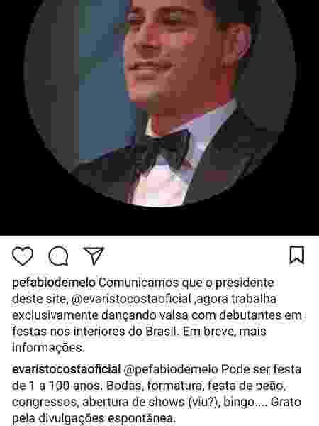 Reprodução/Instagram/evaristocostaoficial