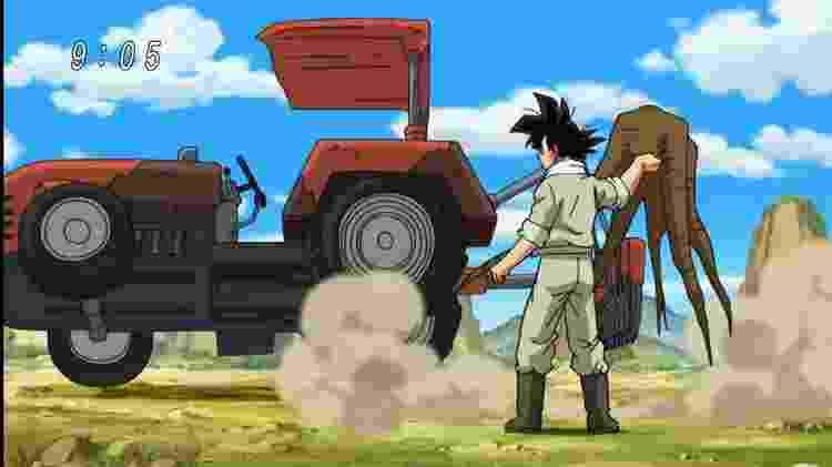 """Goku até tentou no início de """"Super"""", mas a vida de um cara normal não é para ele; tão logo surgiu a oportunidade, ele voltou aos treinos - Reprodução"""