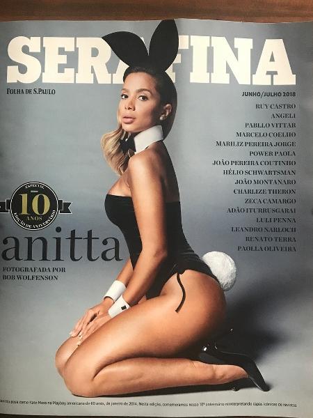 """De coelhinha, Anitta reproduz pose de Kate Moss na revista """"Playboy"""" - Reprodução/Instagram/bobwolfenson"""