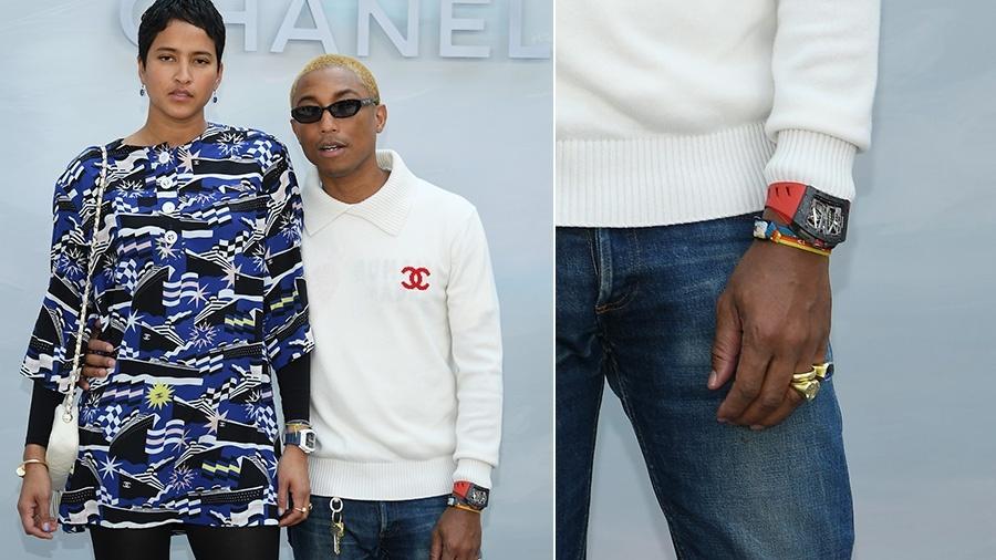 Pharrell Williams e Helen Lasichanh no desfile da Chanel - Getty Images