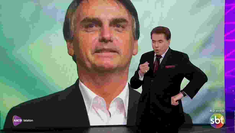 Silvio Santos fala com Bolsonaro durante o Teleton - Reprodução/SBT