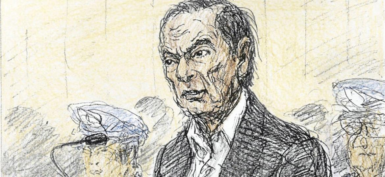 Esboço feito no tribunal da Corte Distrital de Tóquio mostra Carlos Ghosn em sua primeira audiência - Nobutoshi Katsuyama/Kyodo/via Reuters