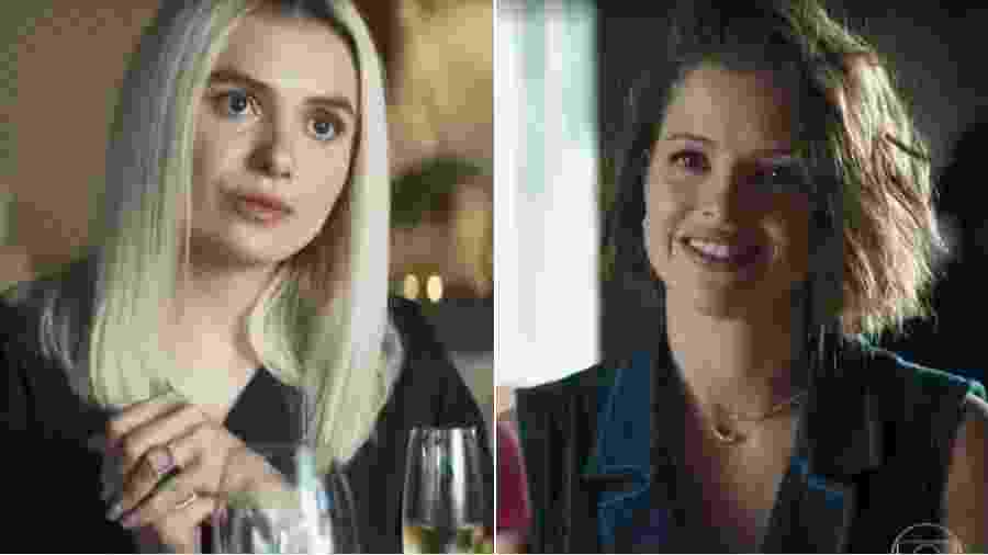 Kim (Monica Iozzi) e Jô (Agatha Moreira): assessora de celebridades quer transformar filha de Maria da Paz em influenciadora - Reprodução/Globo