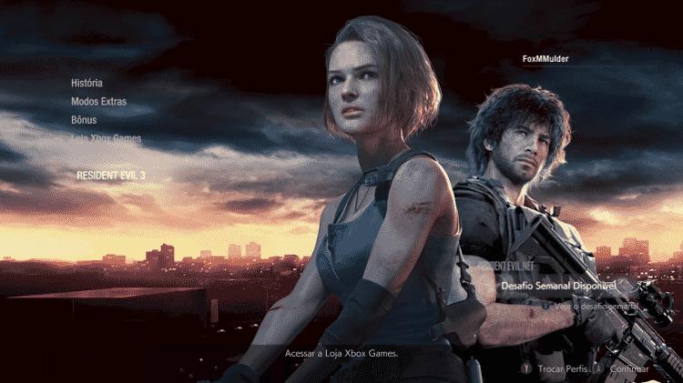 A nova opção no menu inicial de Resident Evil 2, após a atualização - Reprodução