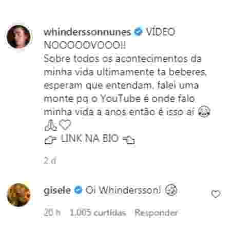 Gisele Bündchen responde Whindersson Nunes - Reprodução/Instagram - Reprodução/Instagram