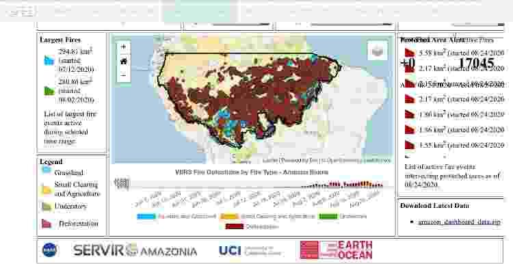 Ferramenta da NASA mostra focos de fogo (pontos vermelhos) classificados como de desmatamento - Reprodução - Reprodução