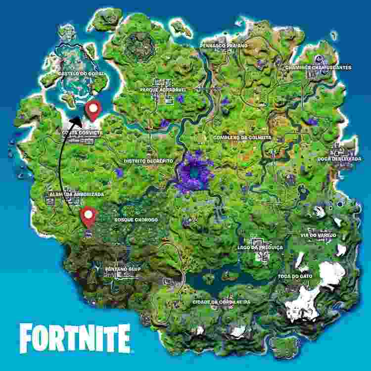 Fortnite Mapa Missão  - Arte/UOL - Arte/UOL