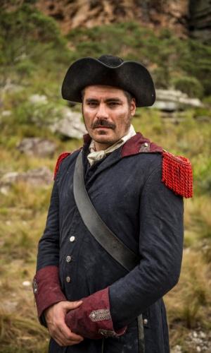 Thiago Lacerda caracterizado como Tiradentes para a novela