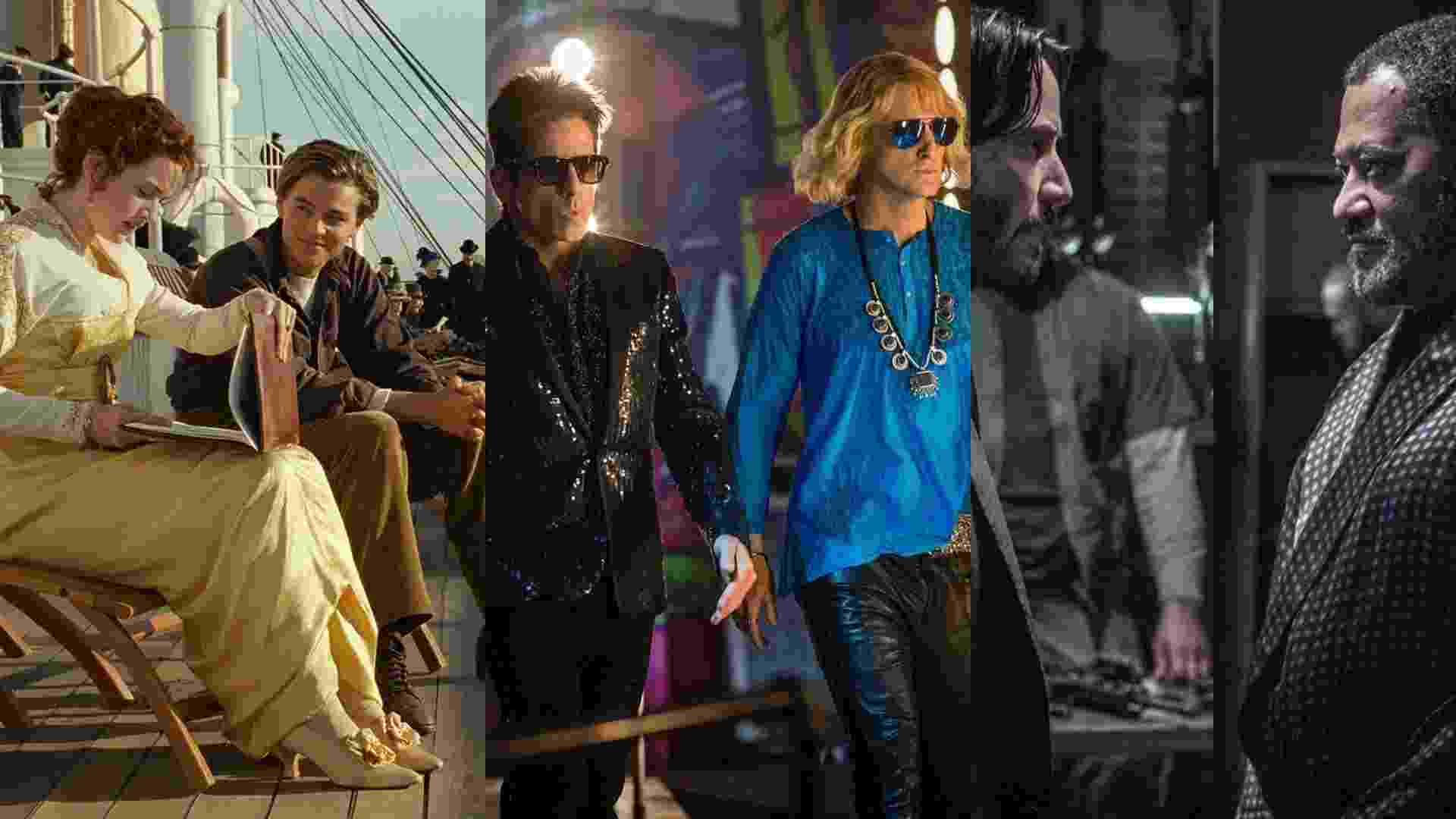 """Cenas dos filmes  """"Titanic"""" (1997), de James Cameron, """"Zoolander 2"""" (2016), de Ben Stiller e """"John Wick: Um Novo Dia Para Matar"""" (2017), de Chad Stahelski - Reprodução/Montagem"""
