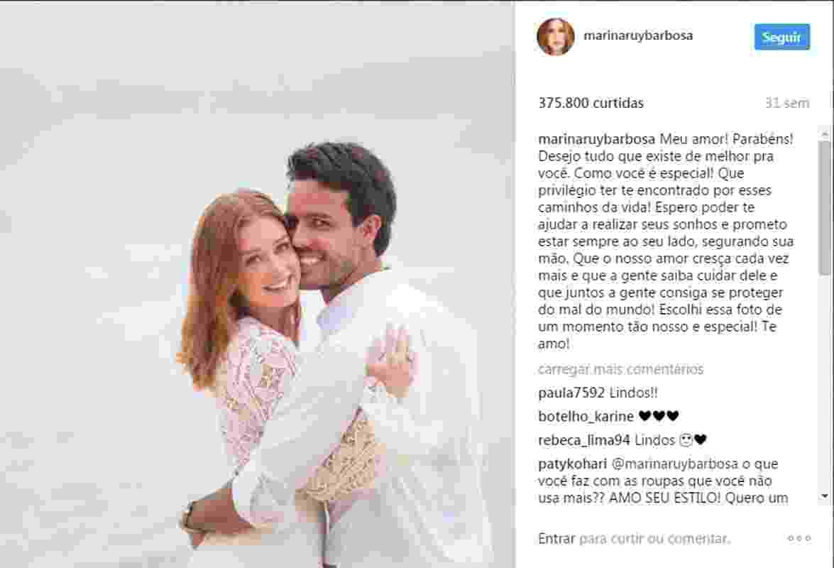 Em foto compartilhada em outubro de 2016, Marina aparecia com o vestido que se casou na Tailândia - Reprodução/Instagram/marinaruybarbosa
