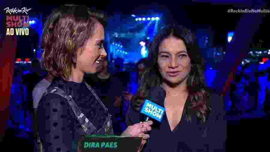 Dira Paes é entrevistada durante o Rock in Rio - Reprodução/Multishow