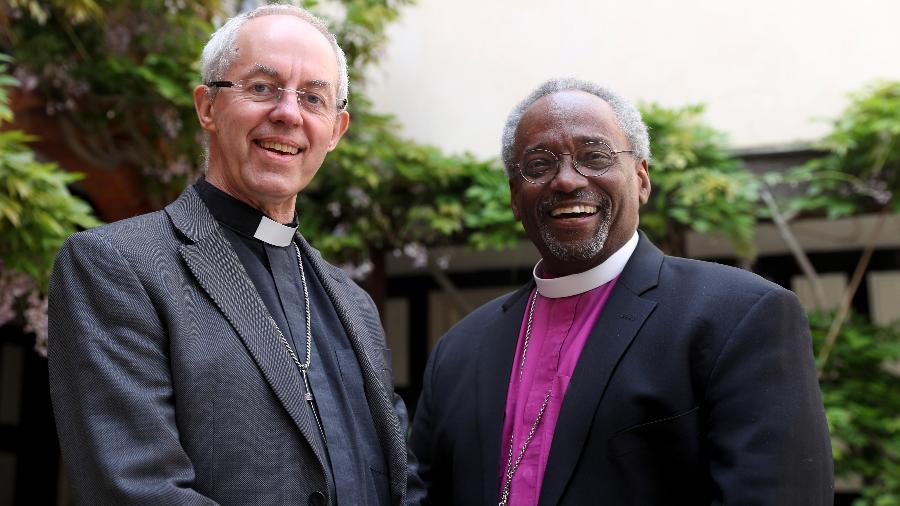 O arcebispo da Cantuária, Justin Welby, e o bispo presidente e primaz da Igreja Episcopal dos Estados Unidos, o reverendíssimo Michael Bruce Curry, - Getty Images