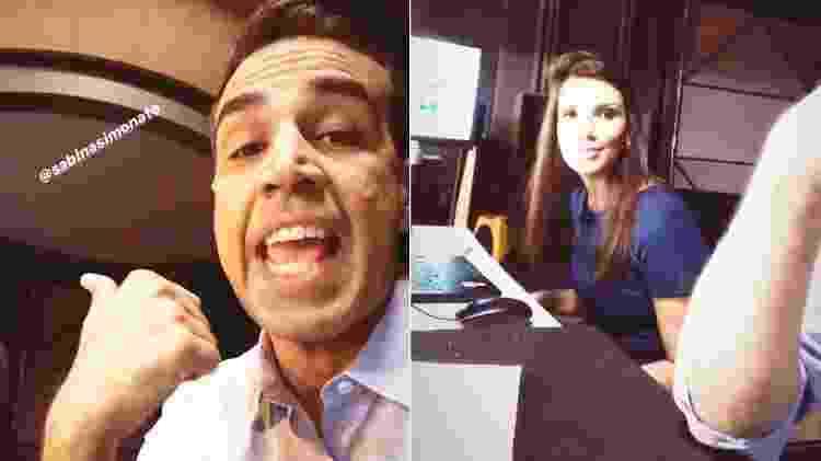 Alexandre Oliveira brinca com Sabina Simonato nos bastidores do Hora 1 - Montagem/UOL/Reprodução/Instagram/alexmaroliveira