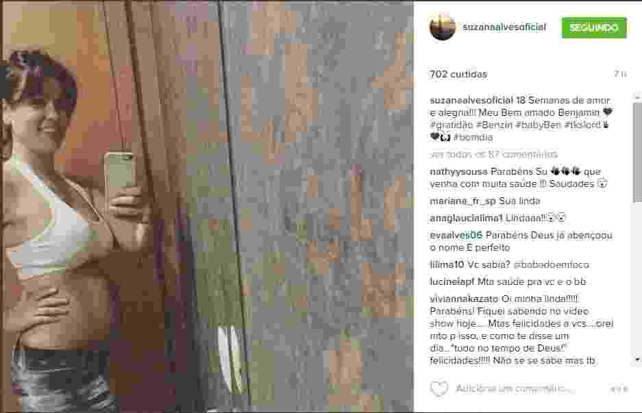 """17.fev.2016- Suzana Alves mostra barrigão de quatro meses de gravidez: """"18 Semanas de amor e alegria!!! Meu Bem amado Benjamin"""", escreveu a ex-Tiazinha - Reprodução/Instagram"""
