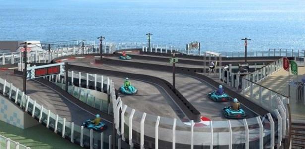 O kartódromo ao ar livre será uma das grandes atrações do Norwegian Joy - Divulgação/Norwegian Cruise Line