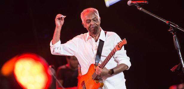Gilberto Gil durante show em Salvador, em 2017