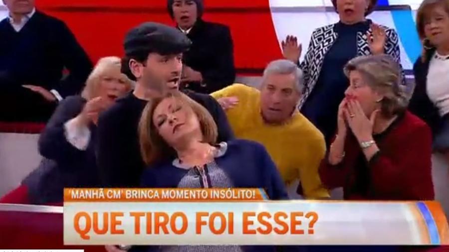 Apresentadora do programa da TV portuguesa Manhã CM brinca com o hit Que Tiro Foi Esse? - Reprodução