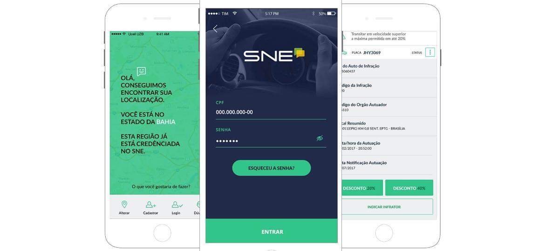 Diferentes telas da interface do aplicativo SNE - Divulgação